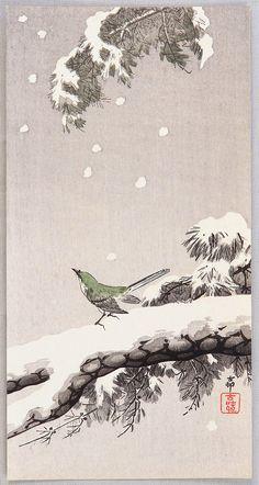 Ohara Koson: Bush Warbler in Winter - Ca. 1900-1910s