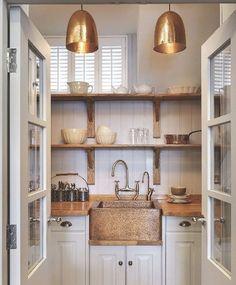 Copper Sink Pendant Lights Butcher Block Counter Tops Open Shelving White Kitchen