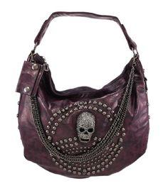 Glossy Purple Gunmetal Studded Rhinestone Skull Handbag  Things2Die4 36d737f7a7af5