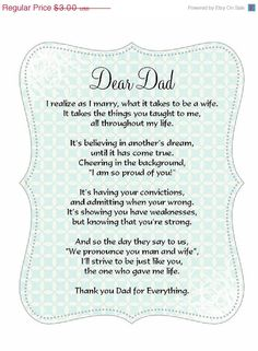 SALE Father of the Bride poem card Great addition to a custom handkerchief.