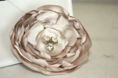 Fabric flower hair clip for bride or bridesmaid by thepaisleymoon, $8.00