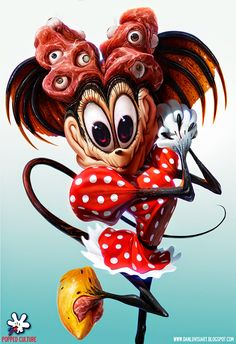 Nightmarish Illustration of Minnie Mouse That Depicts Her as a Grotesque Beast by Dan LuVisi