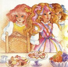 Maiden CurlyCrown, Lady LovelyLocks, Maiden FairHair at a tea party. Vintage Cartoon, Cartoon Tv, Vintage Toys, Superman, Lady Lovely Locks, Nostalgia, Anime Pixel Art, Type Illustration, Rainbow Brite