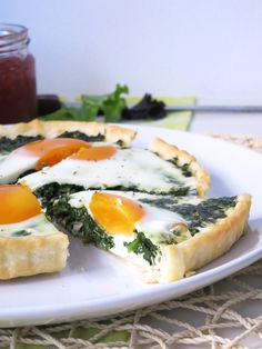 Spinach, goat's cheese and egg tart