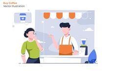 Buy Coffee - Vector Illustration - EPS, AI Eps Vector, Vector Graphics, Coffee Cartoon, Coffee Vector, Coffee Instagram, How To Make Coffee, Coffee Type, Coffee Cozy, Coffee Design