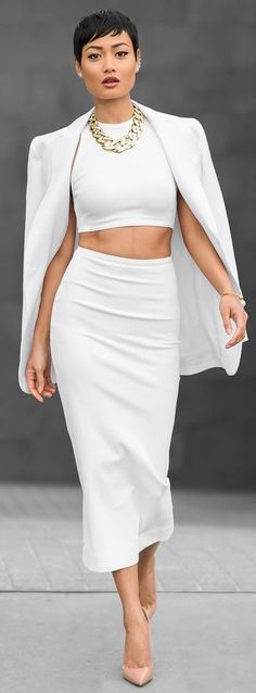 Every Thing White Pop Of Nude Brilliant Simplicity Outfit by Micah Gianneli