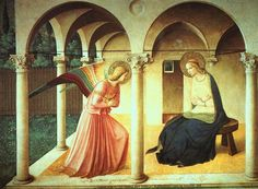 Fra Angelico 1387 – 1455 The Annunciation fresco (230 × 321 cm) — 1438-45 Museo di San Marco, Florence Fra Angelico biography This work is linked to Luke 1:28