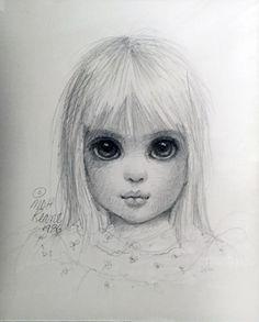 Little Blondie Drawing 1986 15x17 (Big Eyes) by Margaret D. H. Keane - Pencil on Paper