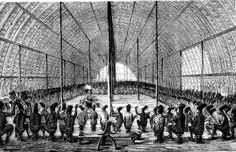 Interior of the Great Hall. Mangbetu peoples, Democratic Republic of the Congo. Drawing by Georg Schweinfurth.
