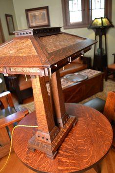 Prairie Craftsman Double Pedestal Reading Lamp