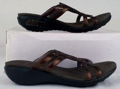 PRIVO BY CLARKS Women's Bronze Strappy Wedge Slides 5.5 Medium Excellent Used #PrivobyClarks #StrappyWedgeSlidesSandals