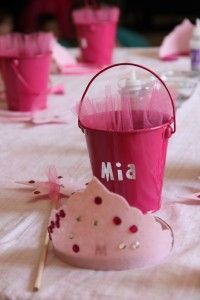 Pink princess party crafts and favors.