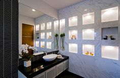 Gorgeous bathroom with an amazing marble wall!