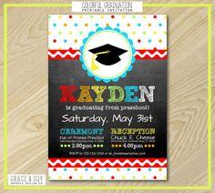 preschool graduation v party invitation  diy printable digital, invitation samples