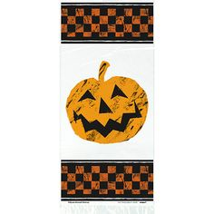 Halloween Checkered Plastic Gift Bags with Twist Ties