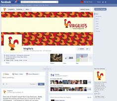 The Virgilios Restaurant Facebook Cover page. Designed to complement the menu and visual concepts.