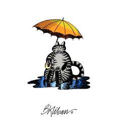 Umbrella Cat by B. Kliban