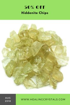 50% off these MESMERIZING Hiddenite Chips. Hiddenite can help teach about Unconditional #Love, it can provide energetic support during the #grieving process and it is believed to help overcome #addictions by helping to releasing attachments. #crystals #healingcrystals #hiddenite #kunzite #crystalsale #sale