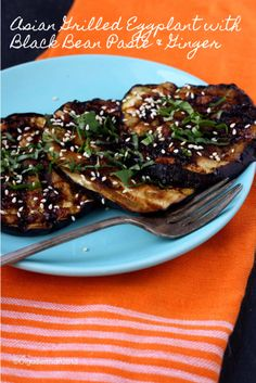 Mango & Tomato: Asian Grilled Eggplant with Black Bean Paste & Ginger
