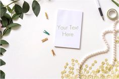 Styled Stock Photography / Notepad, Pearls, Clothes Pins / Green & Yellow Inspired / Organic Photography / Blogger / Instant Download