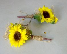 Sunflower Wedding Flowers Mens boutonnieres rustic woodland twine wrapl Bridal party accessories Groom Groomsmen summer silk artificial