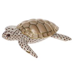 Herend Hand Painted Porcelain Figurine Loggerhead Turtle Chocolate Fishnet Gold Accents.