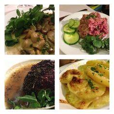 Paris: Chez Paul: kidneys in mustard cream; gr8 steak tartare; steak au poivre; pommes dauphinoises
