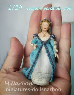 half inch scale, custom porcelain doll, by Maria Narbon