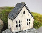 Raku Fired Miniature House Ornament