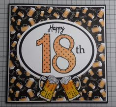 Male 18th Birthday card Paper free cd cardmaking mag with Hunkydory for the love of stamps beer tankards
