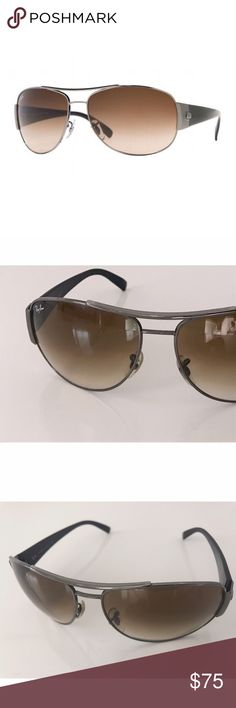 Ray-Ban RB3358 Gunmetal Aviator Sunglasses 004/51 Men's Ray-Ban Ray-Ban RB3358 sunglasses. The perfect color combination of gunmetal grey and brown lenses make this pair a great addition to any outfit. These stylish sunglasses are perfect for a day out in the urban jungle, hiking or hitting the beach. Not new but in excellent previously worn condition. Ray-Ban Accessories Sunglasses