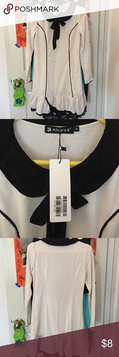 Allegra K dress White and black lace dress. Peter Pan collar with bow on front. Long sleeves. NEW with tags. Size small. Dresses