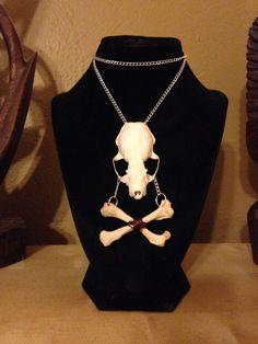 Skull and crossbones handmade necklace