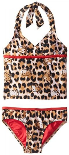 e8fd7a0de9807 Hello Kitty Little Girls' Stars and Stripes Tankini, Brown, 5/6