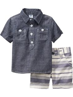 Chambray Shirt & Shorts Sets...would be soo cute when Joey actually starts walking