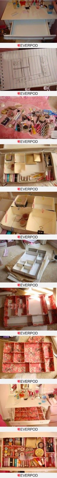 DIY drawer organizer -- I should do this for my make-up and hair-accessory drawers in the bathroom. I adore this idea. And it's nearly a free DIY Diy Drawer Organizer, Drawer Organisers, Drawer Dividers, Storage Organizers, Drawer Storage, Do It Yourself Organization, Makeup Organization, Makeup Storage, Jewelry Storage