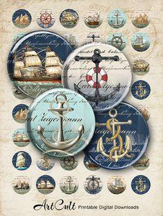 OLD NAVY SHIPS - 12 mm size images Printable Download Digital collage Sheet for pendants bracelets earrings rings cufflinks pendants ArtCult