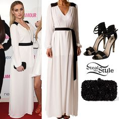 Perrie Edwards posed with her bandmates on the red carpet at the 2014 Glamour Awards tonight wearing a Donna Mizani Side Tie Tuxedo Gown ($231.00) in Frost, a Zara Beaded Box Clutch ($99.90) and a pair of (not pictured) Topshop RATED Metal Tip Sandals ($80.00).
