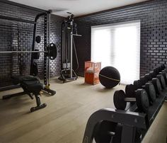 Trendy home gym interior design workout Home Gym Basement, Home Gym Garage, Gym Room At Home, Home Gym Decor, Basement Remodeling, Basement Ideas, Gym Interior, Interior Design, Dream Home Gym