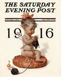 """New Years Girl Kniting,"" Jan. 1, 1916, by J. C. Leyendecker"
