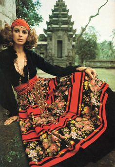 Vintage Vogue Tuesday #3Every Tuesday we bring you an iconic Vogue Australia image from our archives.The Gentle Gypsies, Vogue Australia June/July 1970.Model wears Norma Tullo black jersey top and patterned cotton skirt at a 13th century Kehan temple in Bangli.Image by David Hewison.  From In Vogue: 50 years of Australian style.
