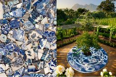 Babylonstoren_Delft blue mosaic around the lemon tree! Garden Tiles, Patio Tiles, Garden Art, Porch Garden, Lush Garden, Pocket Full Of Sunshine, Blue Colour Palette, Color, Blue Mosaic