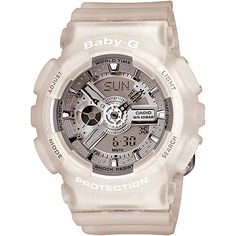 Baby-G Watch, Women's Analog-Digital Frosted Clear Resin Strap - G-Shock - Jewelry & Watches - Macy's G Shock Watches, Casio G Shock, Watches For Men, G Watch, Casio Watch, Baby G Shock, Casio Protrek, Clear Resin, Sport Chic