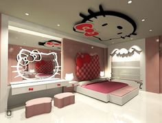 Hello kitty headboard and light bedroom furniture