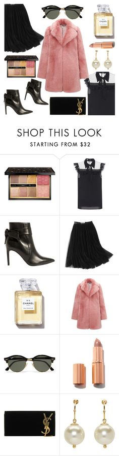 """""""Law of Attraction."""" by refinedpunk ❤ liked on Polyvore featuring Guerlain, Miu Miu, Karen Millen, WithChic, Whistles, Ray-Ban, Yves Saint Laurent, Simone Rocha, Winter and fauxfur"""