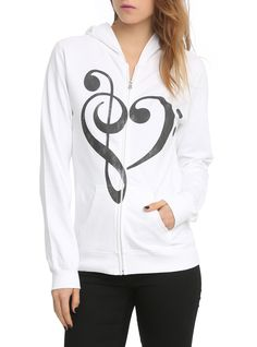 Music Heart Girls Hoodie | Hot Topic I HATE HOW THERE IS NEVER ANYTHING TO DO WITH THE ALTO CLEF. WHAT, DO VIOLAS NOT MATTER?!