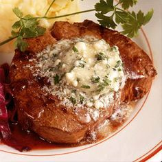 Beef Tenderloins With Roquefort Butter. Nothing could be easier than this cheese and butter-topped pan-sautéed steak.