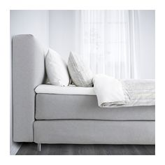 MJÖLVIK Boxspringbett - 160x200 cm, Hövåg fest/Tuddal hellgrau - IKEA