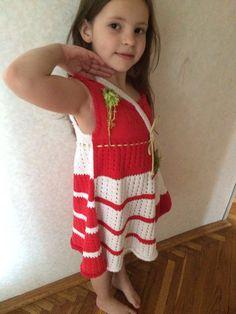 Вязание спицами. Платье для девочки 6-ти лет Cold Shoulder Dress, Handmade, Dresses, Fashion, Hand Made, Gowns, Moda, La Mode, Craft