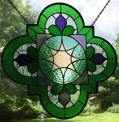 Arabesque Purple, green, aqua, and peach Quatrefoil Stained Glass Panel, window, suncatcher gift, sun catcher